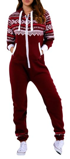 SkylineWears Women's Onesie Fashion Printed Playsuit Ladies Jumpsuit Large Burgundy Looks comfortable! Onesie Pajamas, Cute Pajamas, Pyjamas, Footie Pajamas For Adults, Looks Style, Looks Cool, Christmas Fashion, Winter Fashion, Pijamas Women