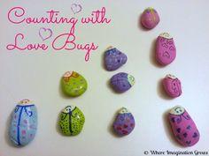 Counting & Sorting DIY Love Bug Rocks | Where Imagination Grows