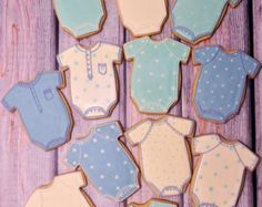 Large Baby Onesies and Romper Cookies 1 Dozen by MarinoldCakes