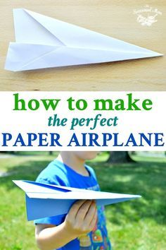 How to make the perfect paper airplane! It's so easy and the kids can do this activity themselves! Paper Airplane Folding, Make A Paper Airplane, Airplane Kids, Airplane Crafts, Airplane Flying, Kites For Kids, Rockets For Kids, Origami Easy, Origami Kite
