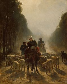 Constant Troyon French, 1810-1865, The Road to Market