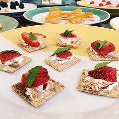 Cream cheese with strawberry and mint on Triscuit crackers on this Saturday crafternoon. @britandco #madeformore #iamcreative