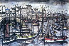 Bernard Buffet Douarnenez - 1990 oil on canvas 130 x 195 cm ©ADAGP Neo Expressionism, Walter Gropius, Claude Monet, French Artists, France, Oeuvre D'art, Art History, Light In The Dark, Painting & Drawing