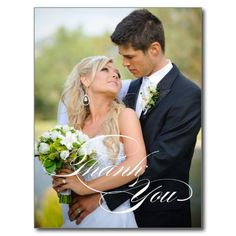 WHITE SCRIPT WEDDING THANK YOU PHOTO POSTCARD