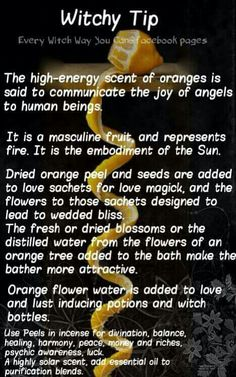 Witchy tip - Oranges - Pinned by The Mystic's Emporium on Etsy Stop by my Shop… Wicca Witchcraft, Magick, Wiccan Witch, Mantra, Tarot, Every Witch Way, Witch Board, Under Your Spell, Eclectic Witch