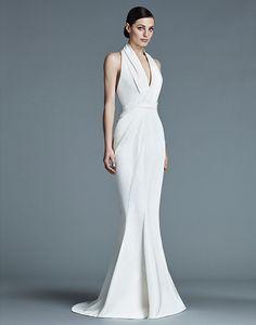 Simple Deep V-neck Wrap Dress |  http://brideandbreakfast.ph/2015/07/31/j-mendel-bridal-2016/#more-55385 | J. Mendel