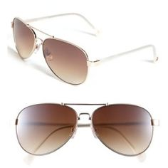 7a042b9cc0 Vince Camuto 59mm Metal Aviator Sunglasses Gold/ Cream One Size. Geometric  double-bridge