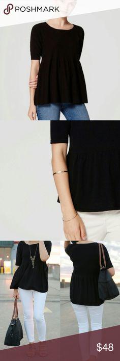 NWT Loft Black Peplum Sweater NWT Loft Black Peplum Sweater. Sleeves to the elbow and rib texture LOFT Sweaters Crew & Scoop Necks