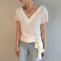 blusa laço na cintura off white