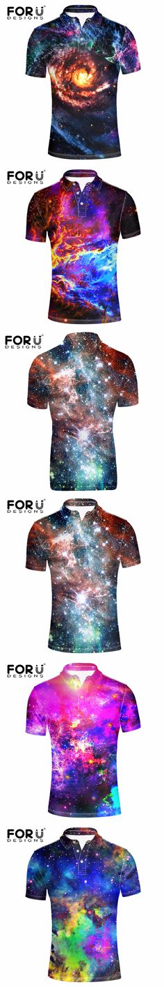 FORUDESIGNS Man Short Sleeved Polo Shirt 3D Superstar Galaxy Universe Space Printed Polo Shirt for Men Clothes Slim Fit Camisa