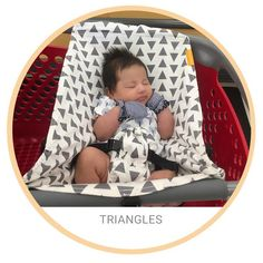 Our comfy Binxy Baby shopping cart hammock in graytrianglesquickly and easily clips onto most carts, hangs elevated so you have plenty of room for groceries,