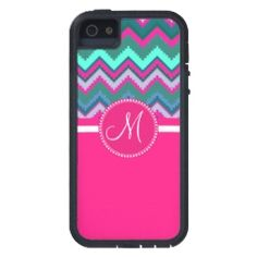 Monogram Aqua Teal Blue Pink Tribal Chevron Zigzag iPhone 5 Covers #SOLD on #Zazzle