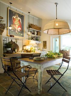 A French-inspired kitchen, filled with comfort and light, reminds one of lunch in the country.