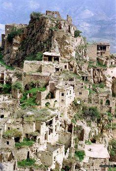 Caucasus mountains Gamsutl ancient Avar ruins Dagestan North Caucasus