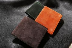 #Italian Classic #Bifold #wallets in #brown, #orange, and #forestgreen by #Avallone.  More Here - http://www.avalloneluxury.com/collections/executive-suede/bi-folds