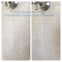 """We have had a blue stain on the tiles in the shower since we moved in almost 3 years ago. I have tried EVERYTHING to get it off, including Shower Power, Gumption, Exit Mould and the like. Thought I'd try the Norwex Descaler. A couple of squirts and the stain disappeared before my eyes (hence a last minute """"before"""" shot). Amazing. Love Norwex products."""