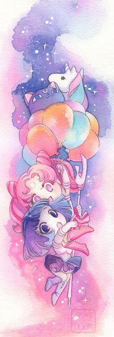 Sailor Moon Poster, Chibiusa and Sailor Saturn Hotaru Watercolor Poster Print Sailor Jupiter, Arte Sailor Moon, Sailor Moon Fan Art, Sailor Chibi Moon, Sailor Moon Character, Sailor Mars, Sailor Neptune, Sailor Venus, Sailor Moon Tattoos