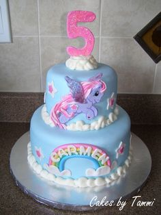 My Little Pony Birthday Cake | Vanilla cake with strawberry cheesecake filling, decorated in fondant ...