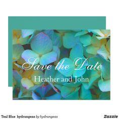 Romantic elegant Teal Blue  hydrangeas - save the date