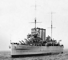 British Hawkins class - The heavy cruiser was a type of cruiser, a naval warship designed for long range, capable of high speed and possessing a powerful main battery of 203mm (8-in) guns. Almost looks like a cruise ship with all those portholes..