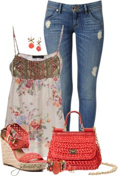"""Floral Babydoll Top & Skinny Jeans"" by jaimie-a ❤ liked on Polyvore"