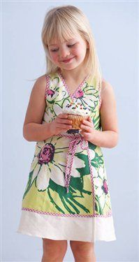 This file contains pattern pieces only. Project instructions are on page 93 of Stitch magazine Spring 2010 Made from a colorful vintage  tablecloth, this special dress will quickly become a treasured keepsake. Sized to fit ages three to four, this quick and easy upcyled dress features vibrant bias trim and a linen flounce at the…