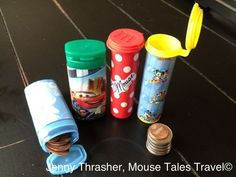 disney crafts Going to Disneyland, zoo, theme park, or somewhere with those pressed penny machines? Make these pressed penny containers for the kids to carry