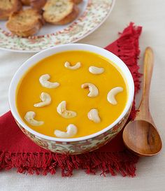 Pumpkin-Bell-Pepper-Lentil-Soup-With-Cashews Recipe - RecipeChart.com #Appetizer #GlutenFree #Vegan