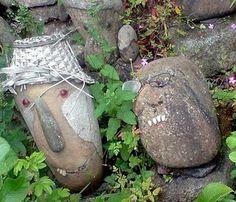 Stone art:  Hats and teeth!