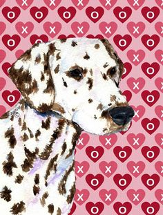 Dalmatian Hearts Love and Valentine's Day Portrait Flag Canvas House Size