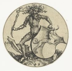 """Woodwose- The """"wildman of the woods"""",  is a mythical figure that appears in the artwork and literature of medieval Europe, comparable to the satyr  type in classical mythology and to Silvanus, Roman god of the woodlands. Images of wild men appear in the carved and painted roof bosses  where intersecting ogee vaults meet in the Canterbury Cathedral, in positions where one is also likely to encounter the vegetal Green Man. The image of the wild man survived to appear as supporter for heraldic…"""