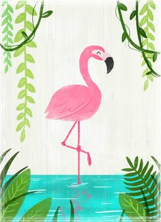 Flamenco imprimible Lámina Flamingo Illustration Print by ArtbyHeatherBurns on Etsy
