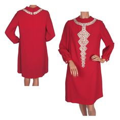 Vintage 60s Fuchsia Pink Crepe Dress with Sequin & Beaded Trim Size M