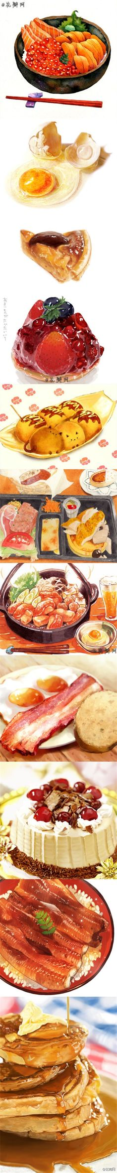 Illustrations of Japanese food Watercolor Food, Watercolor Illustration, Watercolour, Food Drawing, Painting & Drawing, Drawing Ideas, Food Sketch, Food Painting, Food Illustrations