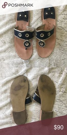 c1a4da3a9a48 🍍Jack Rogers Navy Blue Sandals Only worn once. Navy Blue with Gold  detailing Jack