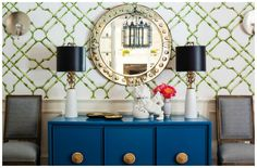 Make a statement with this bold Meg Braff wallpaper and Ro Sham Beaux lamps with black shades