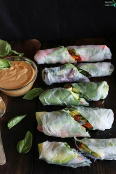 Fresh summer rolls with basil, avocado, kale   spicy garlic peanut sauce