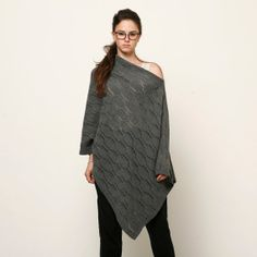 Women knitted grey poncho women knitted jacket women by AndyVeEirn, $95.00