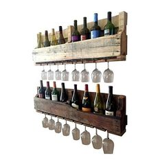 Made out of %100 reclaimed wood, this piece is sure to catch attention in your house for it's unique and one of a kind style. One rack is left natural and the other has a stain mix to darken the wood. If you wood like both dark please let us know. Style meets full functionality with this wine rack holding 10 wine bottles and up to 9 long stem wine glasses. This will vary depending on the style of glass you wish to display. Because it is made of reclaimed pallet wood, not...