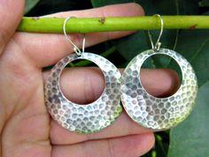 Sterling silver hammered hoop earrings. Bali silver jewelry, Silver hoops, hoop jewelry, hoop earrings