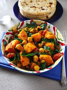Vegan Holiday Recipes | Curried sweet potatoes with chard and chickpeas from Wild About Greens