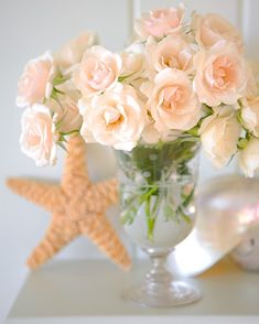 soft peach flowers with starfish
