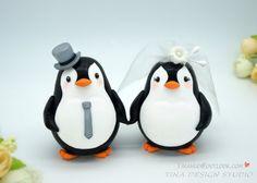 Custom Love Bird Penguin Wedding Cake Toppers-Bride And Groom Penguin Cake Topper