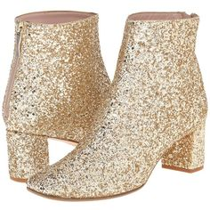Kate Spade New York Tal Women's Zip Boots ($398) ❤ liked on Polyvore featuring shoes, boots, ankle booties, ankle boots, gold, glitter ankle boots, leather boots, chunky heel bootie, thick heel booties ve leather booties