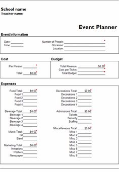 Microsoft Excel Event Planner Template  Event Planner Contract Example