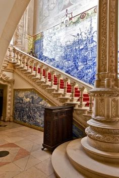 Bussaco Palace Hotel – Luso – Coimbra - Portugal – 5-Stars Hotel Portugal, Great Places, Beautiful Places, Places To Travel, Places To Go, Castle Gate, Portuguese Tiles, Interior Stairs, Windsor Castle