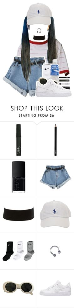 """M I C  D R O P"" by gaeeko ❤ liked on Polyvore featuring NARS Cosmetics, Charlotte Russe, NIKE and Acne Studios"