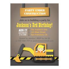 Orange Excavator Construction Theme Birthday Party 4.25x5.5 Paper Invitation Card