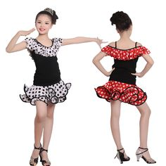 >> Click to Buy << Free Shipping Girls Fashion Polka Dot Shirt Suit Child Kid Practice Samba Tango Latin Dress #Affiliate