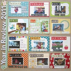 #papercraft #scrapbook #layout      Year in Review layout idea- one photo from each month.